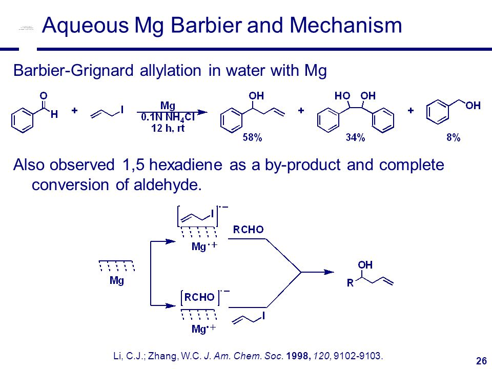 26 Aqueous Mg Barbier and Mechanism Barbier-Grignard allylation in water with Mg Also observed 1,5 hexadiene as a by-product and complete conversion of aldehyde.