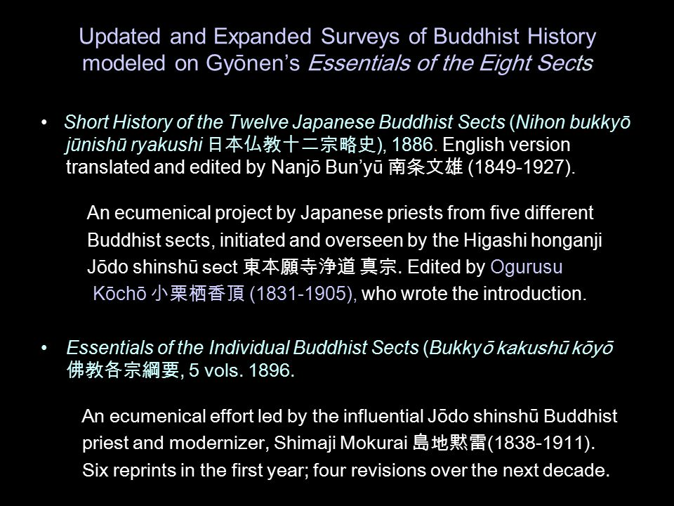 Updated and Expanded Surveys of Buddhist History modeled on Gy ōnen's Essentials of the Eight Sects Short History of the Twelve Japanese Buddhist Sects (Nihon bukkyō jūnishū ryakushi 日本仏教十二宗略史 ), 1886.