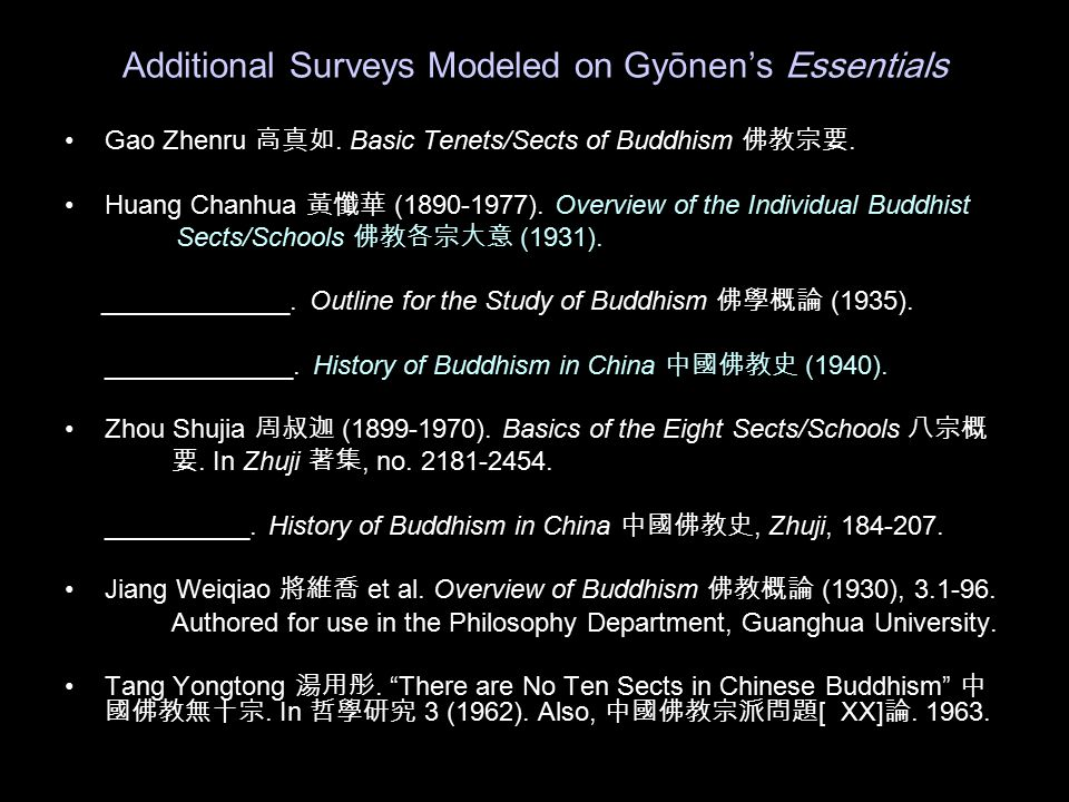 Additional Surveys Modeled on Gy ōnen's Essentials Gao Zhenru 高真如. Basic Tenets/Sects of Buddhism 佛教宗要. Huang Chanhua 黃懺華 (1890-1977). Overview of the