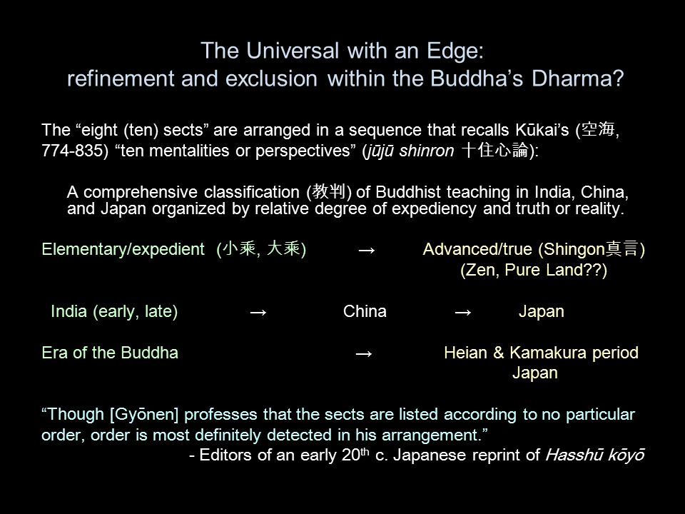 The Universal with an Edge: refinement and exclusion within the Buddha's Dharma.