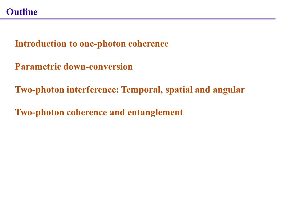 Angular Two-Photon Interference Coincidence count rate: Visibility: Concurrence of the two-qubit state: A.