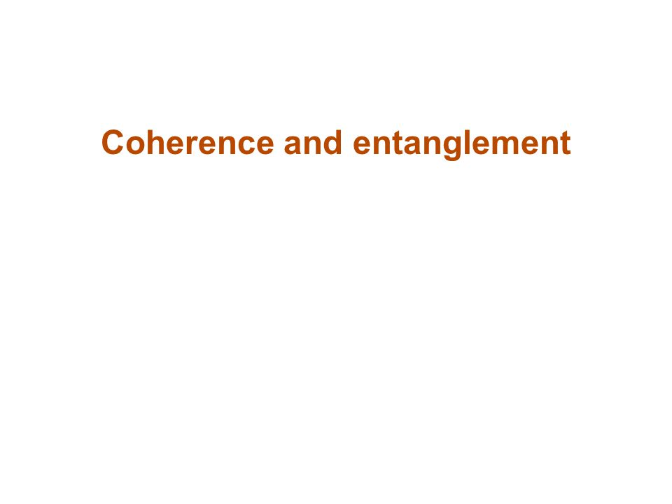 Coherence and entanglement