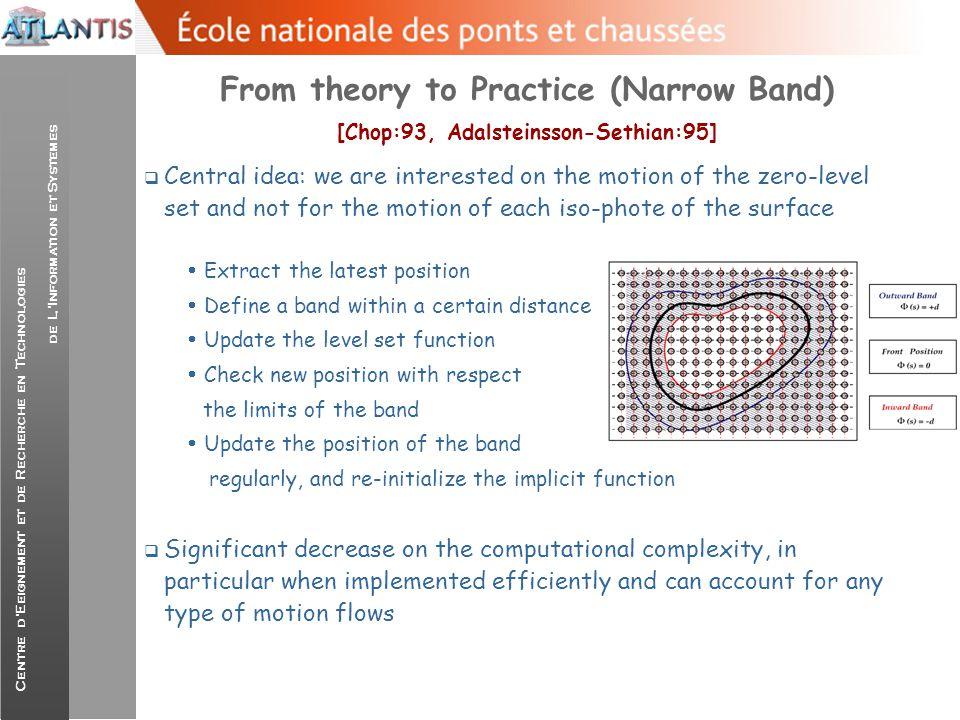 Centre d'Eeignement et de Recherche en Technologies de L'Information et Systemes From theory to Practice (Narrow Band) [Chop:93, Adalsteinsson-Sethian