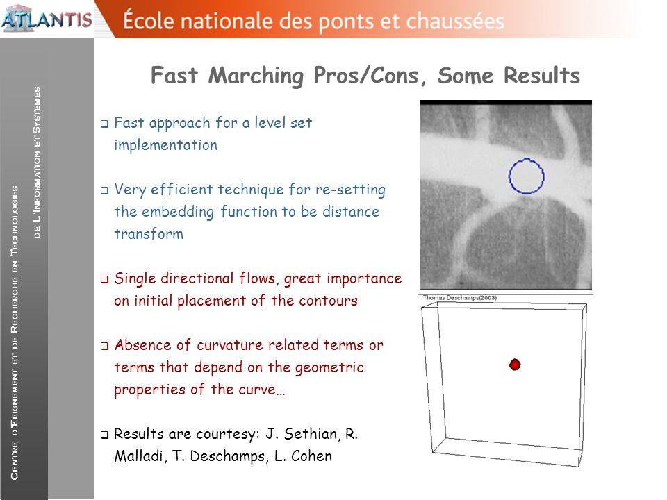 Centre d'Eeignement et de Recherche en Technologies de L'Information et Systemes Fast Marching Pros/Cons, Some Results  Fast approach for a level set