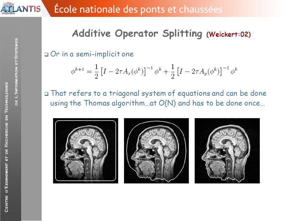 Centre d'Eeignement et de Recherche en Technologies de L'Information et Systemes Additive Operator Splitting (Weickert:02)  Or in a semi-implicit one