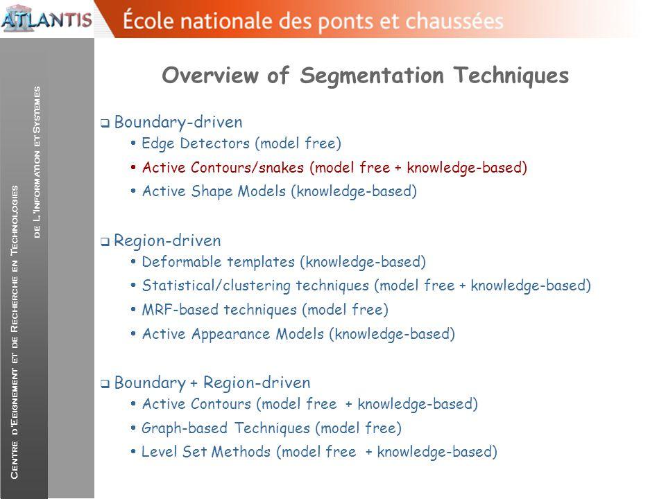 Centre d'Eeignement et de Recherche en Technologies de L'Information et Systemes Overview of Segmentation Techniques  Boundary-driven  Edge Detector