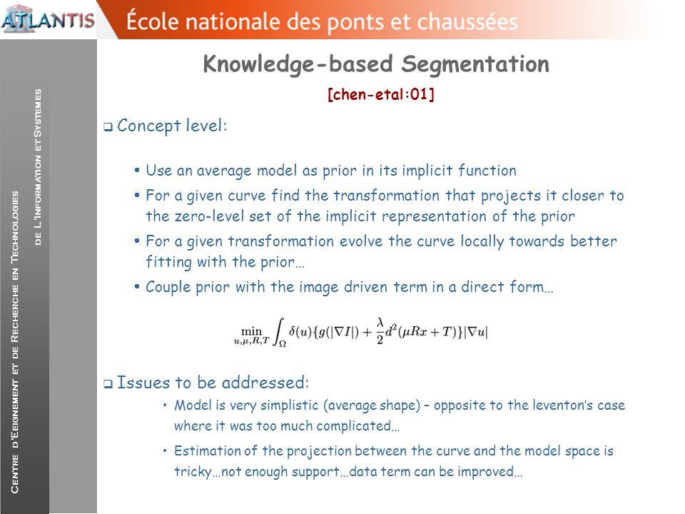Centre d'Eeignement et de Recherche en Technologies de L'Information et Systemes Knowledge-based Segmentation [chen-etal:01]  Concept level:  Use an