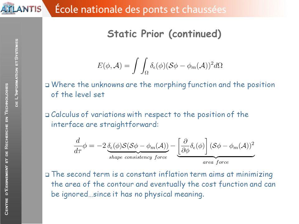 Centre d'Eeignement et de Recherche en Technologies de L'Information et Systemes Static Prior (continued)  Where the unknowns are the morphing functi