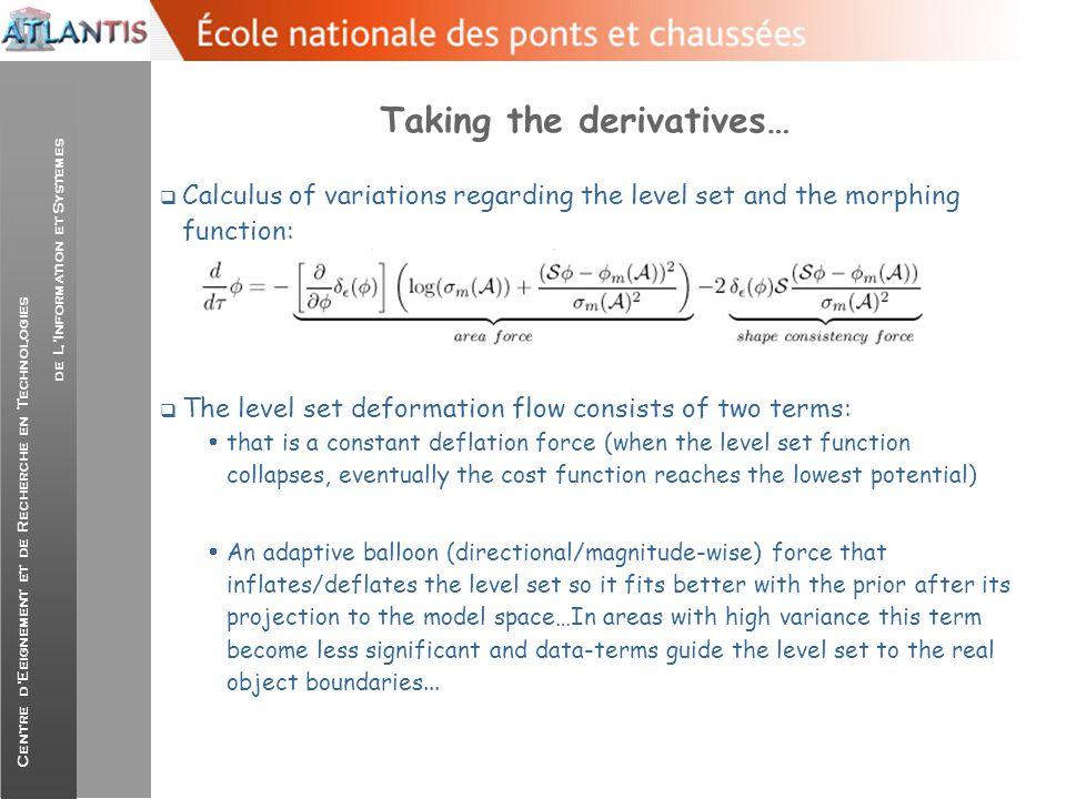 Centre d'Eeignement et de Recherche en Technologies de L'Information et Systemes Taking the derivatives…  Calculus of variations regarding the level