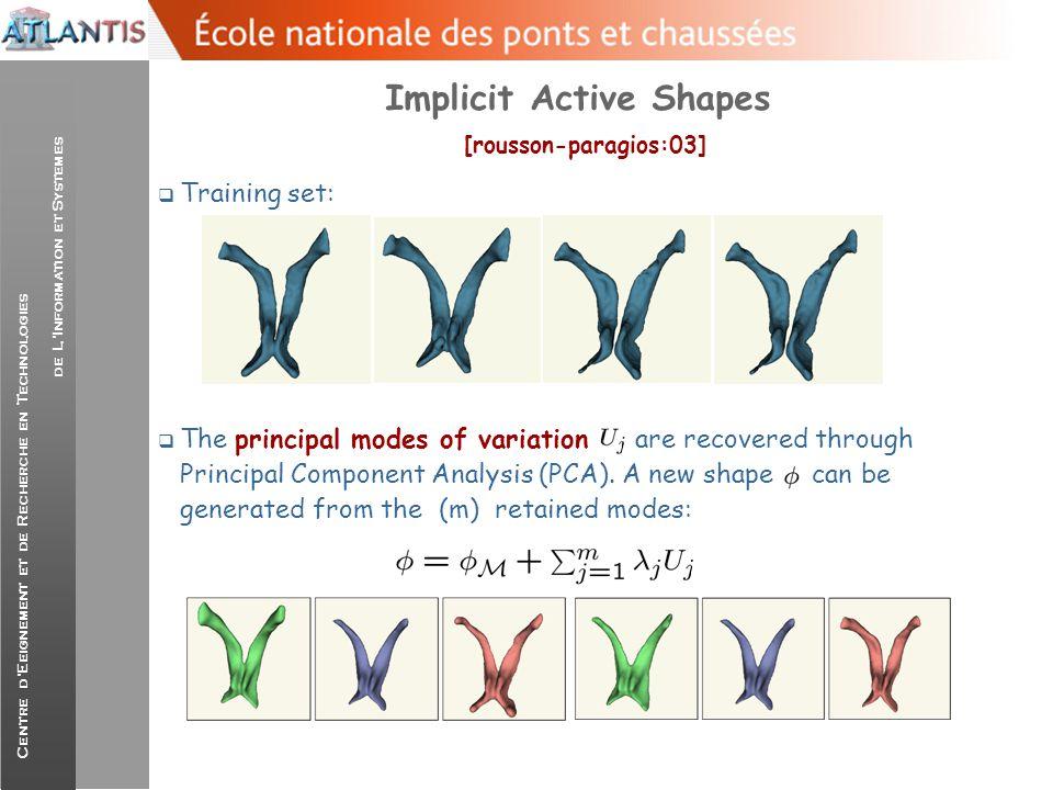 Centre d'Eeignement et de Recherche en Technologies de L'Information et Systemes Implicit Active Shapes [rousson-paragios:03]  Training set:  The pr