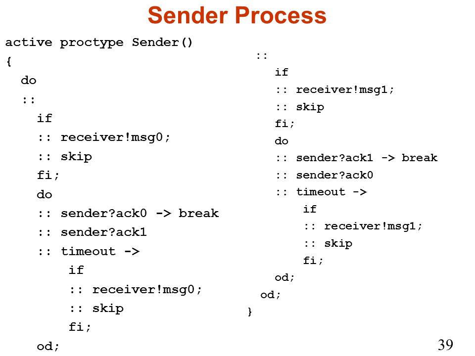 39 Sender Process active proctype Sender() { do :: if :: receiver!msg0; :: skip fi; do :: sender ack0 -> break :: sender ack1 :: timeout -> if :: receiver!msg0; :: skip fi; od; :: if :: receiver!msg1; :: skip fi; do :: sender ack1 -> break :: sender ack0 :: timeout -> if :: receiver!msg1; :: skip fi; od; }