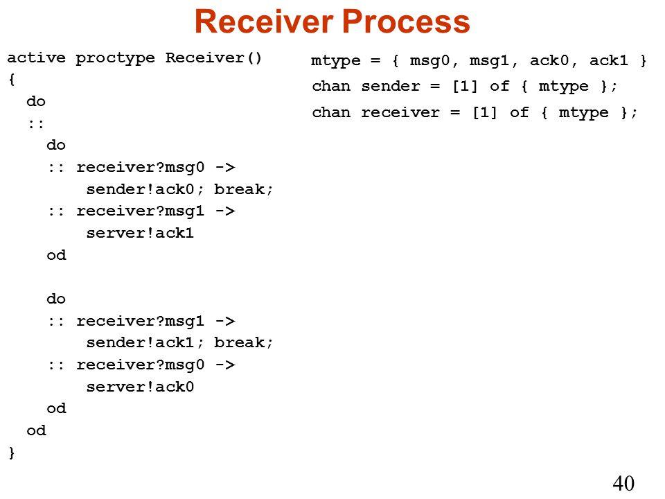 40 Receiver Process active proctype Receiver() { do :: do :: receiver msg0 -> sender!ack0; break; :: receiver msg1 -> server!ack1 od do :: receiver msg1 -> sender!ack1; break; :: receiver msg0 -> server!ack0 od } mtype = { msg0, msg1, ack0, ack1 } chan sender = [1] of { mtype }; chan receiver = [1] of { mtype };