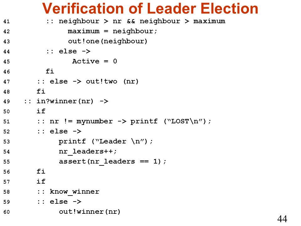 44 Verification of Leader Election 41 :: neighbour > nr && neighbour > maximum 42 maximum = neighbour; 43 out!one(neighbour) 44 :: else -> 45 Active = 0 46 fi 47 :: else -> out!two (nr) 48 fi 49 :: in winner(nr) -> 50 if 51 :: nr != mynumber -> printf ( LOST\n ); 52 :: else -> 53 printf ( Leader \n ); 54 nr_leaders++; 55 assert(nr_leaders == 1); 56 fi 57 if 58 :: know_winner 59 :: else -> 60 out!winner(nr)