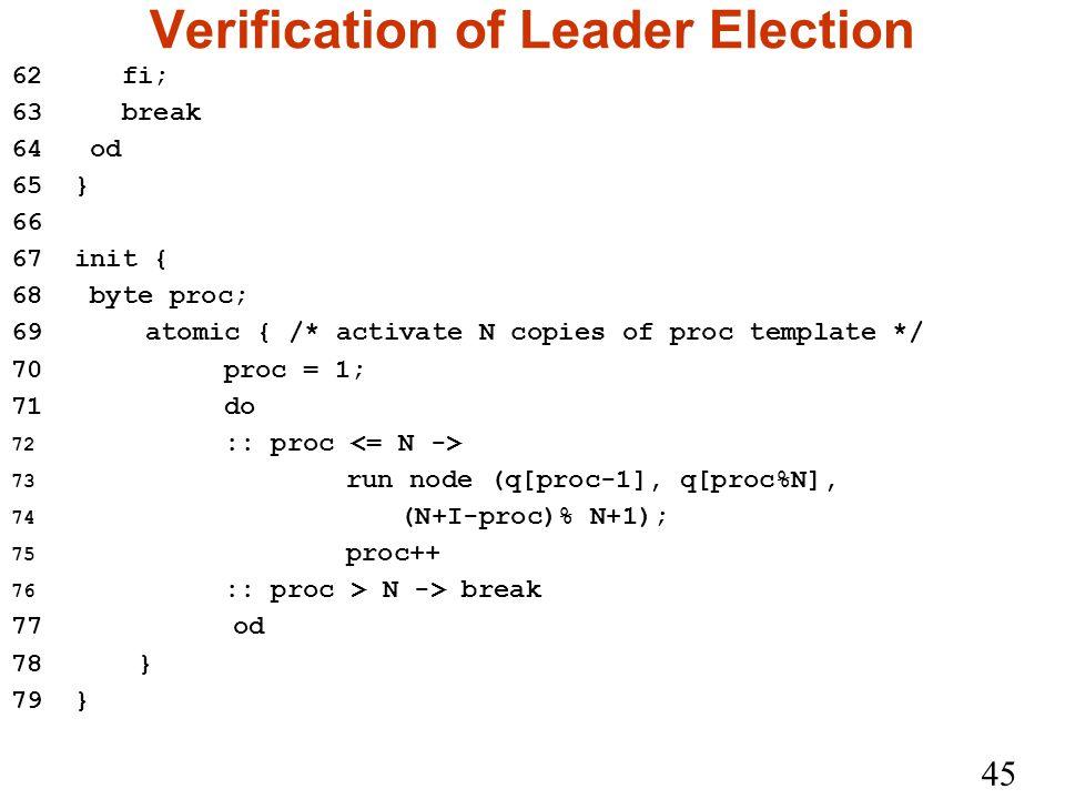 45 Verification of Leader Election 62 fi; 63 break 64 od 65 } 66 67 init { 68 byte proc; 69 atomic { /* activate N copies of proc template */ 70proc = 1; 71do 72 :: proc 73 run node (q[proc-1], q[proc%N], 74 (N+I-proc)% N+1); 75 proc++ 76 :: proc > N -> break 77 od 78 } 79 }