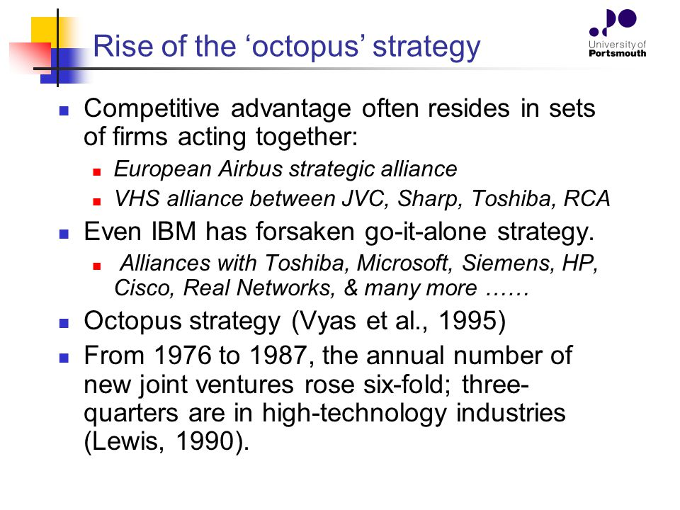 Rise of the 'octopus' strategy Competitive advantage often resides in sets of firms acting together: European Airbus strategic alliance VHS alliance b