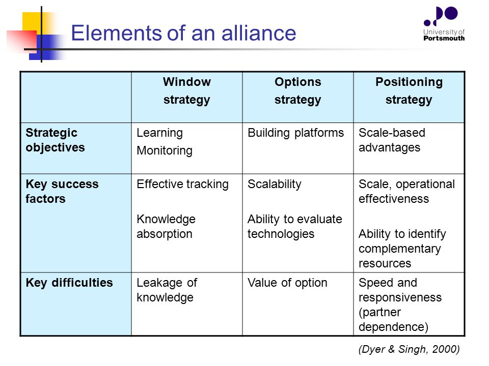 Elements of an alliance Window strategy Options strategy Positioning strategy Strategic objectives Learning Monitoring Building platformsScale-based a