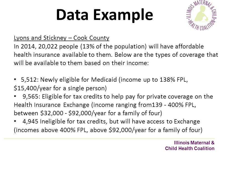Data Example Illinois Maternal & Child Health Coalition Lyons and Stickney – Cook County In 2014, 20,022 people (13% of the population) will have affordable health insurance available to them.