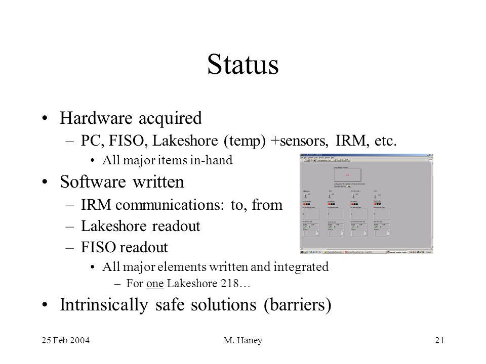 25 Feb 2004M. Haney21 Status Hardware acquired –PC, FISO, Lakeshore (temp) +sensors, IRM, etc.