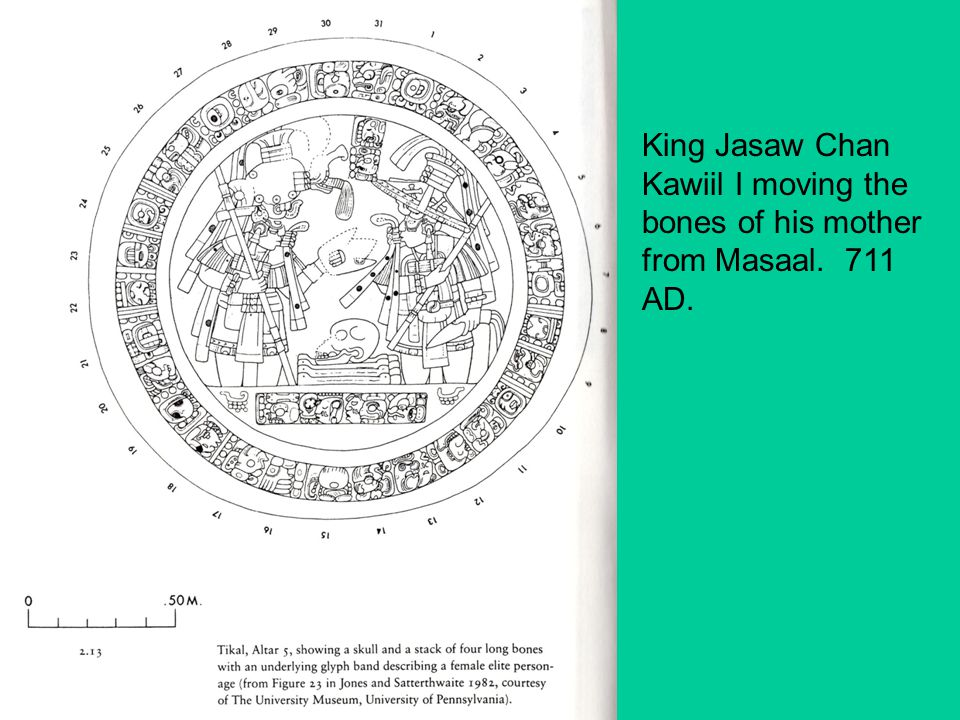 King Jasaw Chan Kawiil I moving the bones of his mother from Masaal. 711 AD.