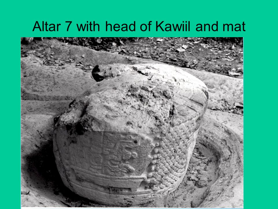 Altar 7 with head of Kawiil and mat