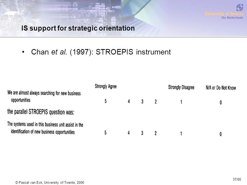37/60 © Pascal van Eck, University of Twente, 2006 IS support for strategic orientation Chan et al.