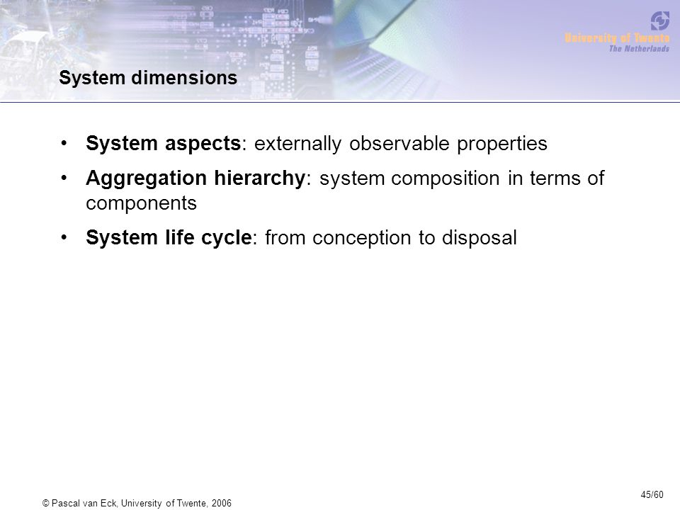 45/60 © Pascal van Eck, University of Twente, 2006 System dimensions System aspects: externally observable properties Aggregation hierarchy: system composition in terms of components System life cycle: from conception to disposal