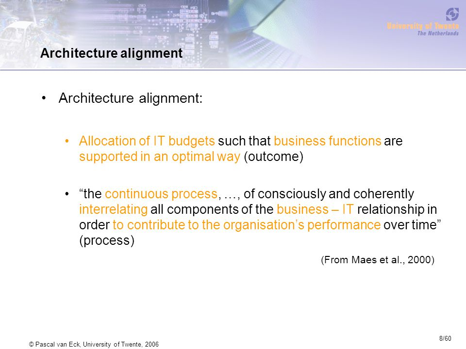 8/60 © Pascal van Eck, University of Twente, 2006 Architecture alignment Architecture alignment: Allocation of IT budgets such that business functions are supported in an optimal way (outcome) the continuous process, …, of consciously and coherently interrelating all components of the business – IT relationship in order to contribute to the organisation's performance over time (process) (From Maes et al., 2000)