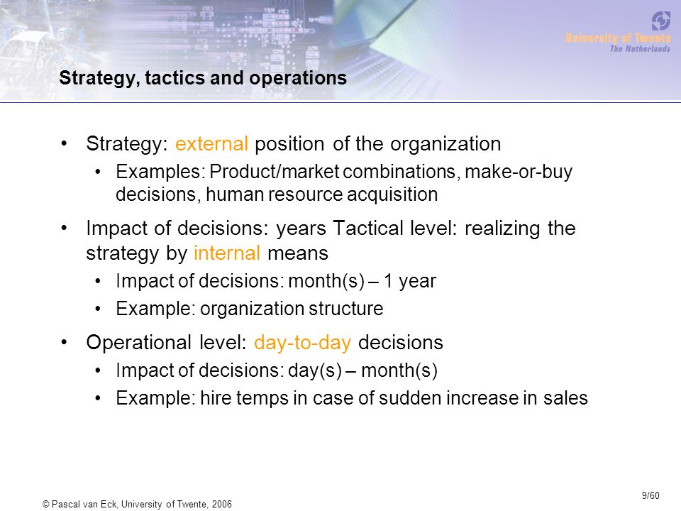 9/60 © Pascal van Eck, University of Twente, 2006 Strategy, tactics and operations Strategy: external position of the organization Examples: Product/m