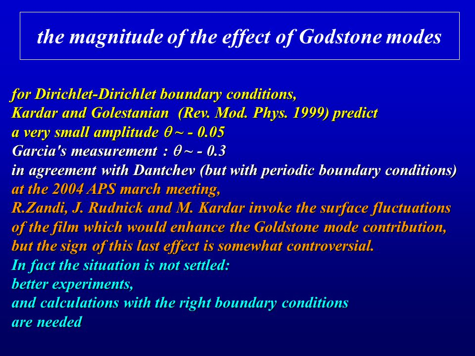 the magnitude of the effect of Godstone modes for Dirichlet-Dirichlet boundary conditions, Kardar and Golestanian (Rev.