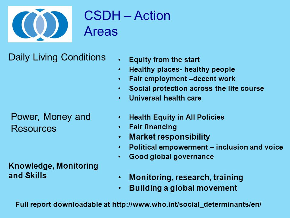 Equity from the start Healthy places- healthy people Fair employment –decent work Social protection across the life course Universal health care Healt