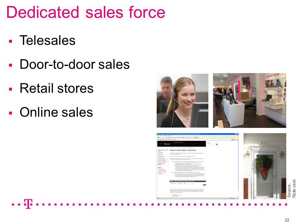 Dedicated sales force 22  Telesales  Door-to-door sales  Retail stores  Online sales Source: flickr.com