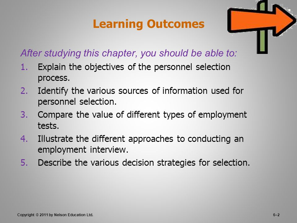 6–2 Learning Outcomes After studying this chapter, you should be able to: 1.Explain the objectives of the personnel selection process.