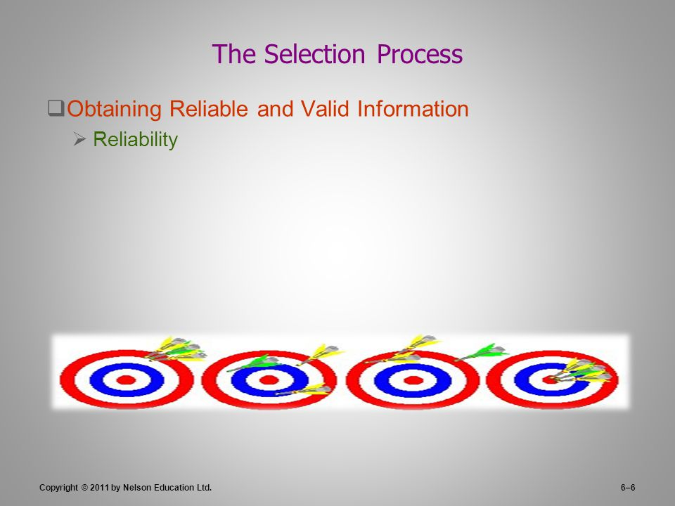 Copyright © 2011 by Nelson Education Ltd.6–6 The Selection Process  Obtaining Reliable and Valid Information  Reliability