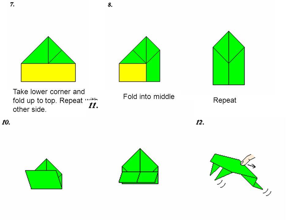 7 Take lower corner and fold up to top. Repeat with other side. Fold into middle Repeat