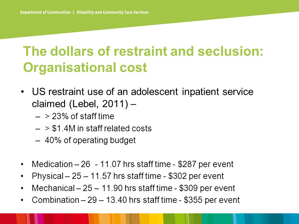 The dollars of restraint and seclusion: Organisational cost US restraint use of an adolescent inpatient service claimed (Lebel, 2011) – –> 23% of staf