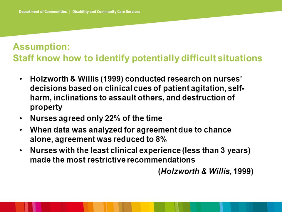 Assumption: Staff know how to identify potentially difficult situations Holzworth & Willis (1999) conducted research on nurses' decisions based on cli