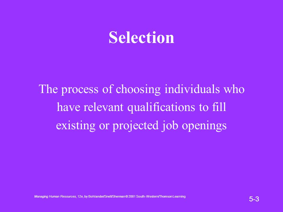 Managing Human Resources, 12e, by Bohlander/Snell/Sherman © 2001 South-Western/Thomson Learning 5-3 Selection The process of choosing individuals who have relevant qualifications to fill existing or projected job openings