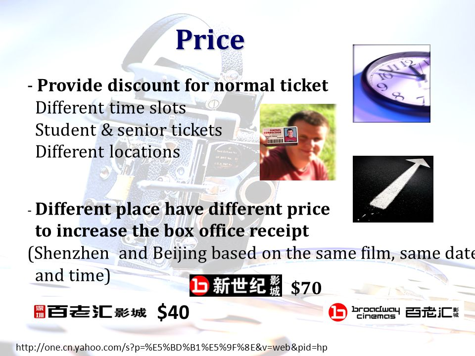 Price Price - Provide discount for normal ticket Different time slots Student & senior tickets Different locations - Different place have different price to increase the box office receipt (Shenzhen and Beijing based on the same film, same date and time) http://one.cn.yahoo.com/s p=%E5%BD%B1%E5%9F%8E&v=web&pid=hp $40 $70