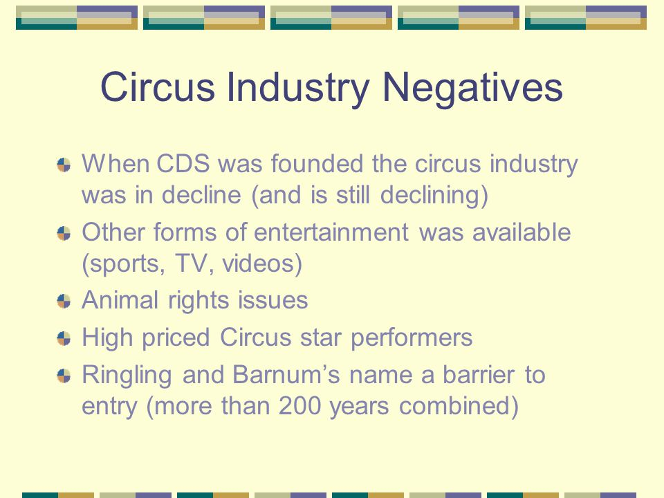 Circus Industry Negatives When CDS was founded the circus industry was in decline (and is still declining) Other forms of entertainment was available (sports, TV, videos) Animal rights issues High priced Circus star performers Ringling and Barnum's name a barrier to entry (more than 200 years combined)
