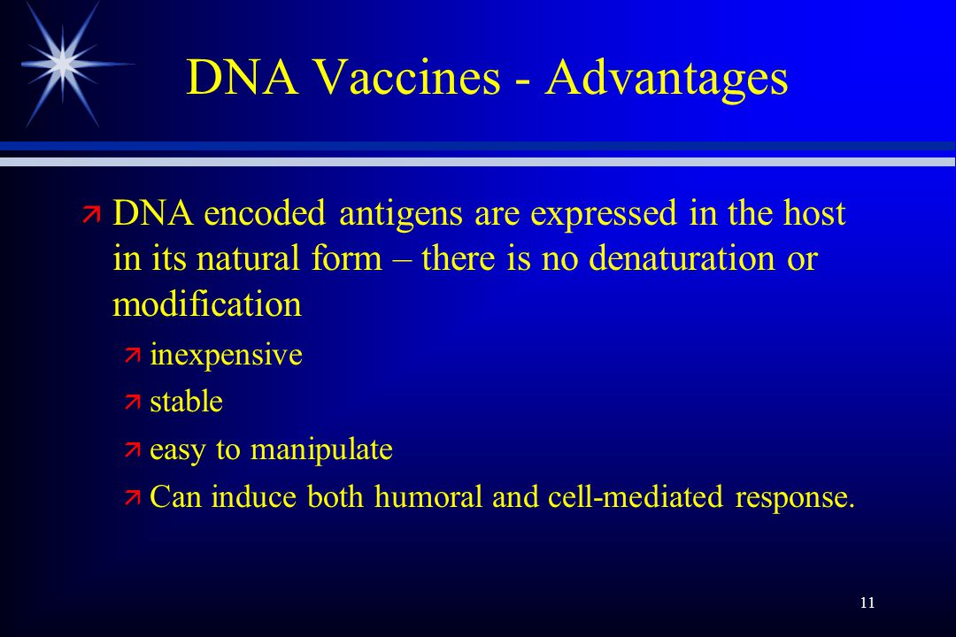 11 DNA Vaccines - Advantages ä DNA encoded antigens are expressed in the host in its natural form – there is no denaturation or modification ä inexpensive ä stable ä easy to manipulate ä Can induce both humoral and cell-mediated response.
