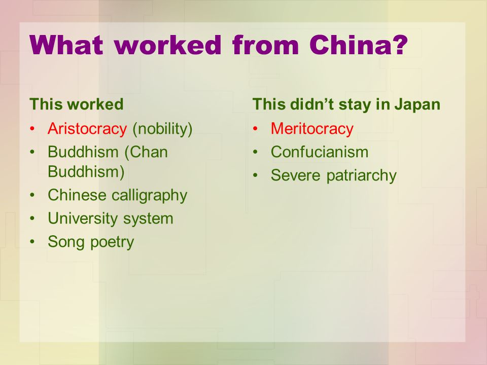 What worked from China? This worked Aristocracy (nobility) Buddhism (Chan Buddhism) Chinese calligraphy University system Song poetry This didn't stay