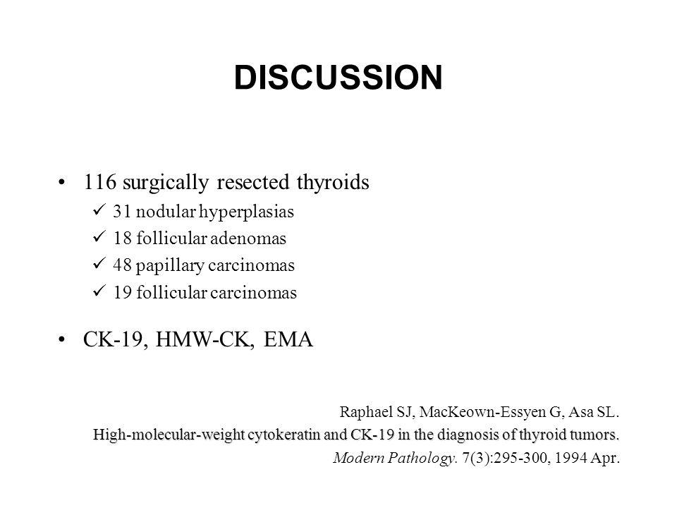 DISCUSSION 116 surgically resected thyroids 31 nodular hyperplasias 18 follicular adenomas 48 papillary carcinomas 19 follicular carcinomas CK-19, HMW-CK, EMA Raphael SJ, MacKeown-Essyen G, Asa SL.