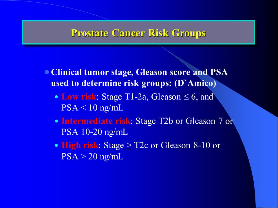 Clinical tumor stage, Gleason score and PSA used to determine risk groups: (D`Amico)  Low risk: Stage T1-2a, Gleason  6, and PSA < 10 ng/mL  Intermediate risk: Stage T2b or Gleason 7 or PSA 10-20 ng/mL  High risk: Stage > T2c or Gleason 8-10 or PSA > 20 ng/mL Prostate Cancer Risk Groups