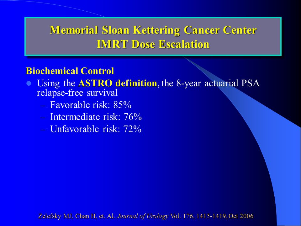 Biochemical Control Using the ASTRO definition, the 8-year actuarial PSA relapse-free survival – Favorable risk: 85% – Intermediate risk: 76% – Unfavorable risk: 72% Memorial Sloan Kettering Cancer Center IMRT Dose Escalation Zelefsky MJ, Chan H, et.