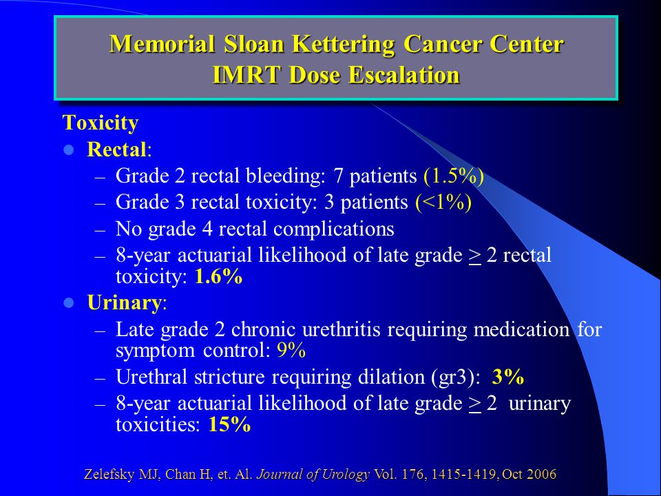 Toxicity Rectal: – Grade 2 rectal bleeding: 7 patients (1.5%) – Grade 3 rectal toxicity: 3 patients (<1%) – No grade 4 rectal complications – 8-year actuarial likelihood of late grade > 2 rectal toxicity: 1.6% Urinary: – Late grade 2 chronic urethritis requiring medication for symptom control: 9% – Urethral stricture requiring dilation (gr3): 3% – 8-year actuarial likelihood of late grade > 2 urinary toxicities: 15% Memorial Sloan Kettering Cancer Center IMRT Dose Escalation Zelefsky MJ, Chan H, et.