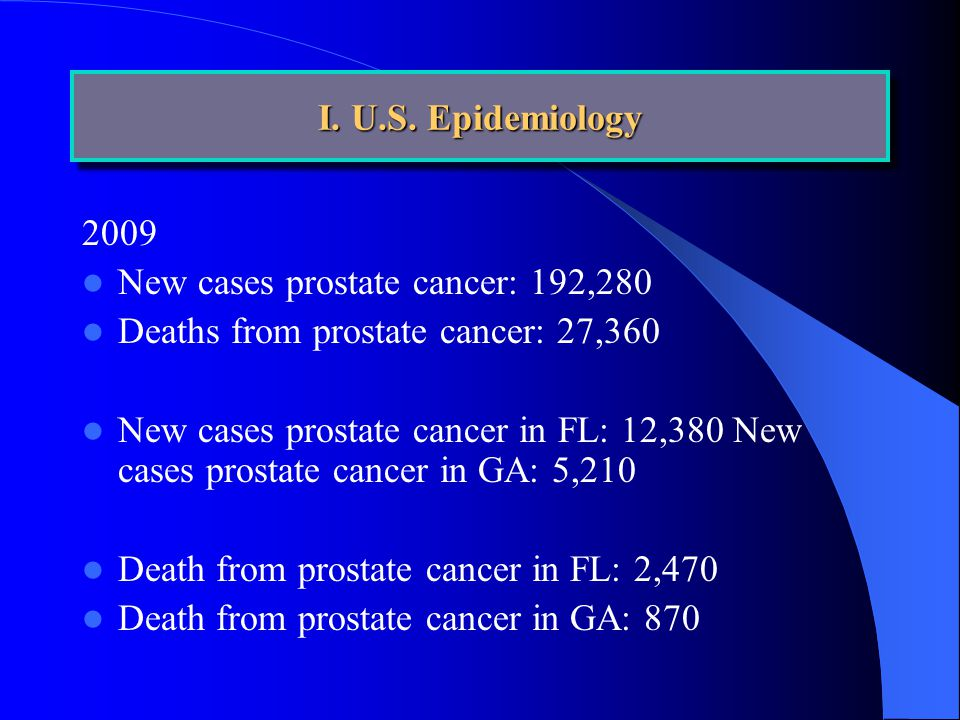 2009 New cases prostate cancer: 192,280 Deaths from prostate cancer: 27,360 New cases prostate cancer in FL: 12,380 New cases prostate cancer in GA: 5,210 Death from prostate cancer in FL: 2,470 Death from prostate cancer in GA: 870 I.