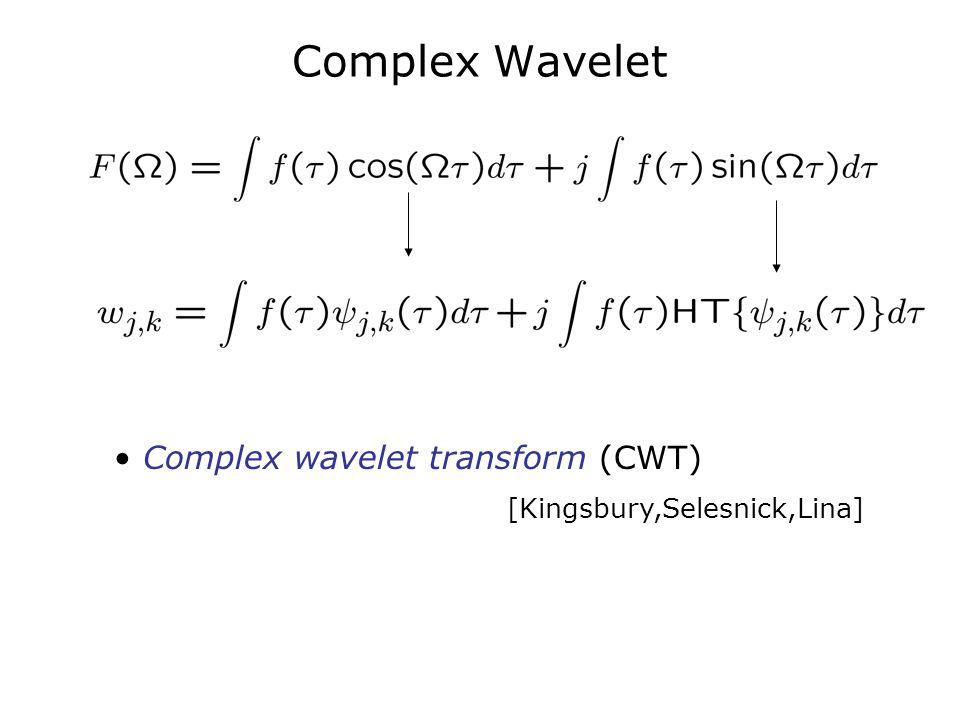 Complex Wavelet Complex wavelet transform (CWT) [Kingsbury,Selesnick,Lina]