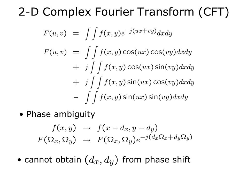 2-D Complex Fourier Transform (CFT) Phase ambiguity cannot obtain from phase shift
