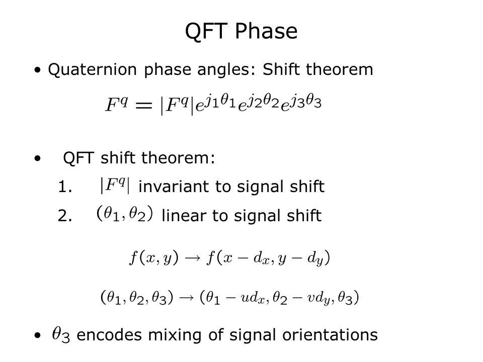 QFT Phase Quaternion phase angles: Shift theorem QFT shift theorem: 1. invariant to signal shift 2. linear to signal shift encodes mixing of signal or