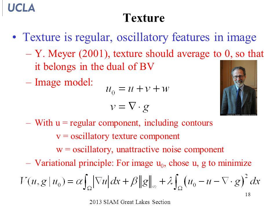 Texture Texture is regular, oscillatory features in image –Y.